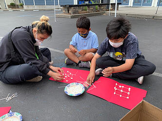 Campers build marshmallow towers