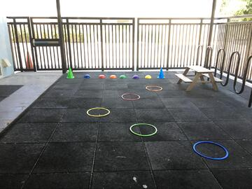 A colorful obstacle course