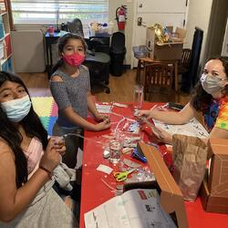 Campers work on arts and crafts