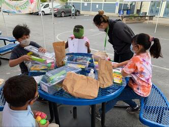Campers with arts and crafts materials
