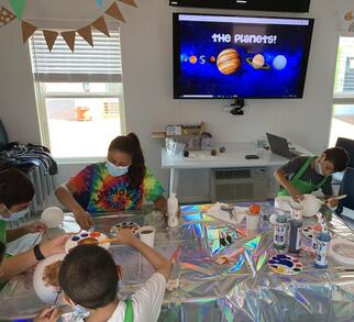 learning about planets and painting them